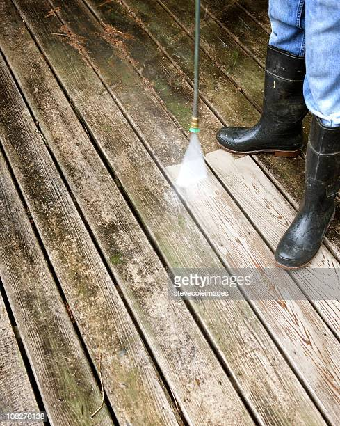 washing deck - mildew stock photos and pictures