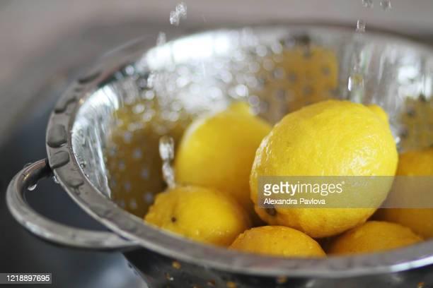 washing fresh lemons in colander - alexandra pavlova stock pictures, royalty-free photos & images