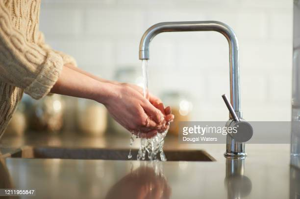 washing hands in kitchen sink. - dougal waters stock pictures, royalty-free photos & images