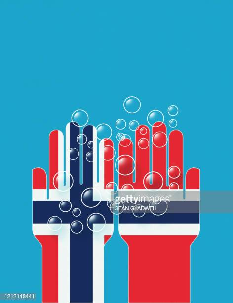 washing hands norway - norwegian flag stock pictures, royalty-free photos & images