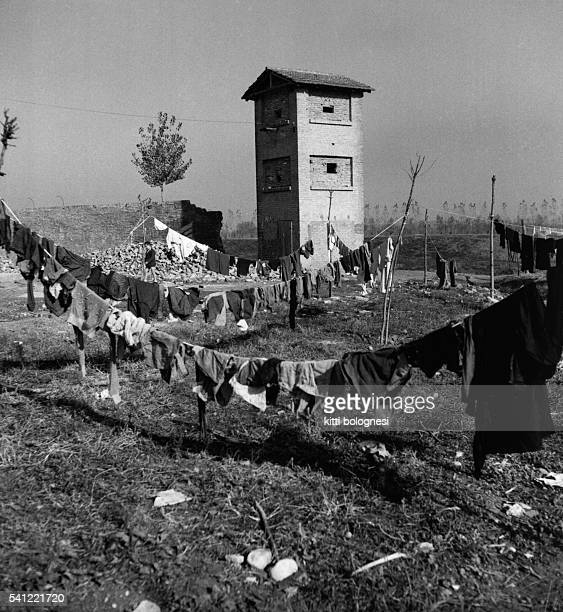 Washing hangs drying in the grounds of the Nomadelfia Orphanage founded by a priest named Don Zeno Saltini | Location Near Grosseto Italy