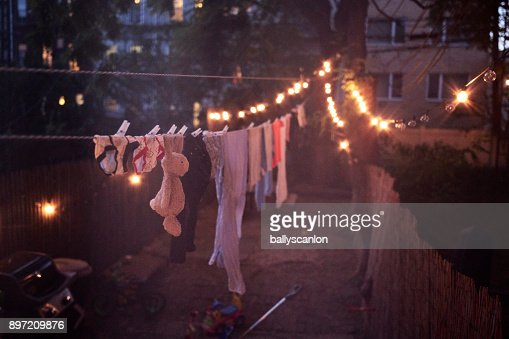 Washing Line At Night