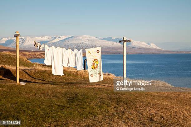 Washing line with Skagafjordur fjord on background
