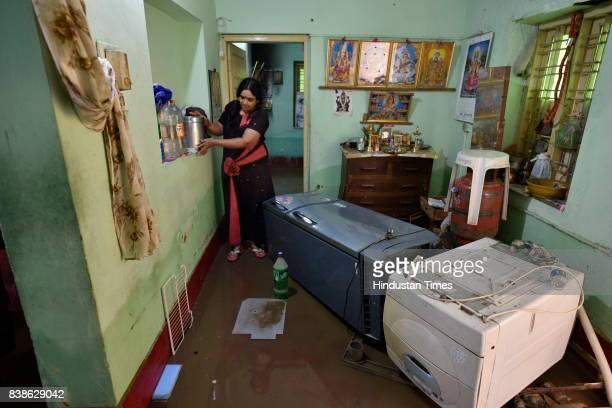 Washing machine and refrigerator fell down due to heavy water logging inside the houses after last night's rain in Rammurthy Nagar on August 24 2017...