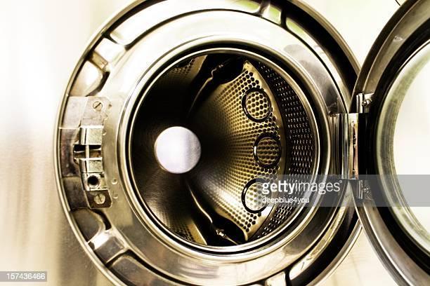 Washing machine front with open door