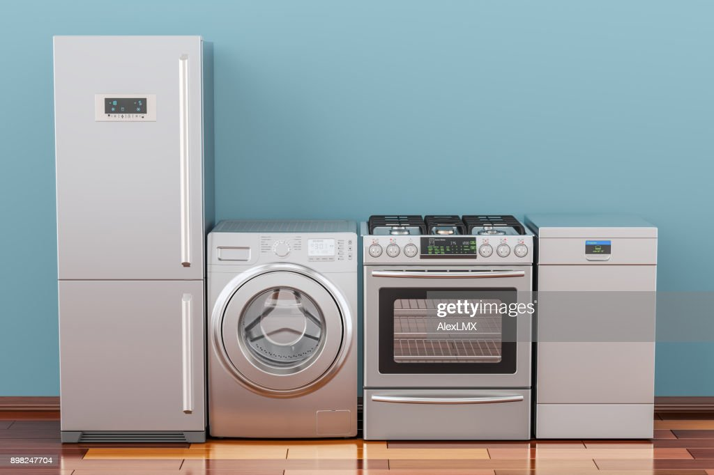 Washing machine, gas stove, fridge and dishwasher in room on the wooden floor, 3D rendering : Stock Photo