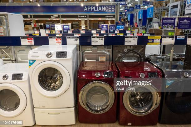 Washing machines dryers and other appliances are seen for sale at a Lowe's home improvement store in Washington DC September 27 as US President...