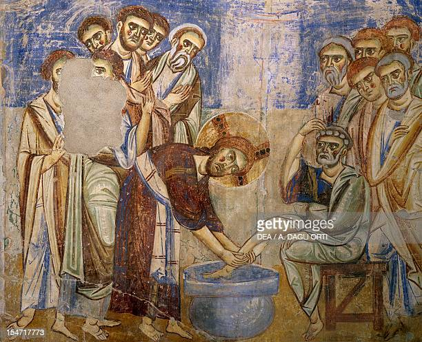 Washing of the Feet detail from the Stories of the New Testament 10721078 ByzantineCampanian school frescoes right side of the nave of Basilica of...