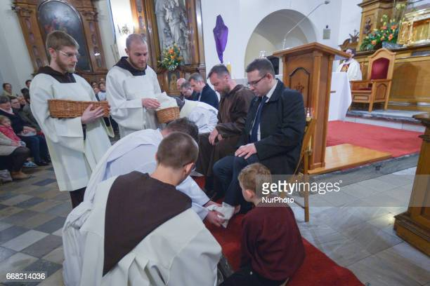 Washing of the Feet during the celebrations of the Holy Thursday mass in a Capuchin church in Krakow On Thursday April 13 in Krakow Poland