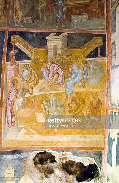 Washing of the Feet fresco in a cave church in the valley of the Roussenski Lom River Ivanovo Bulgaria 14th century