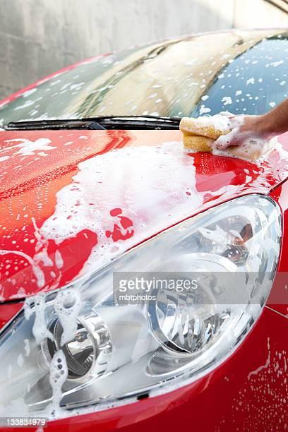 washing red car