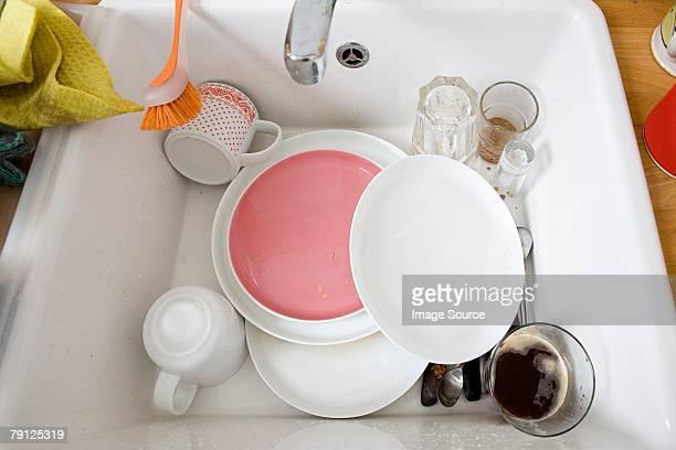No lavatório de lavagem das mãos