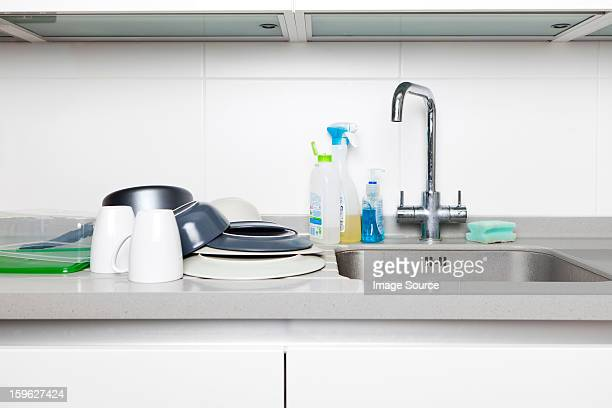 Washing up on kitchen sink