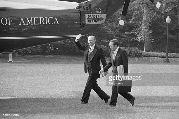 Washington: Accompanied by his new chief-of-staff, Richard Cheney, Pres. Ford departs from the White House for a one-day trip to Massachusetts where...