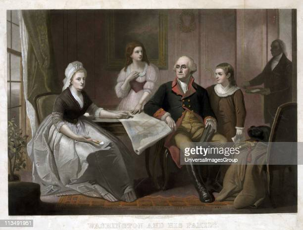 Washington and his family George and Martha Washington seated at table Nelly Custis and George Washington Custis standing servant entering the room...
