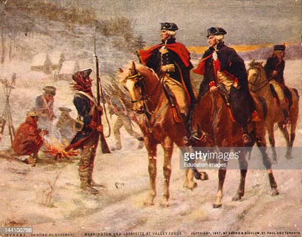 Washington And Lafayette At Valley Forge / Painting By Dunsmore C 1907