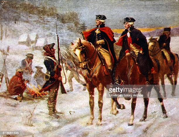 Washington and Lafayette at Valley Forge Painting by John Ward Dunsmore George Washington and Marquis de Lafayette on horseback at winter quarters in...