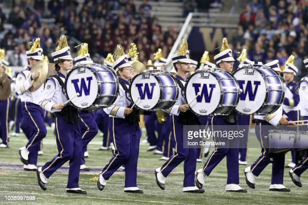 Washington band members entertained fans before the game between the Washington Huskies and the Arizona State Sun Devils on September 22 at Husky...