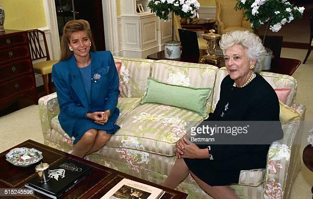 Barbara Bush and Jordan's Queen Noor having tea at White House