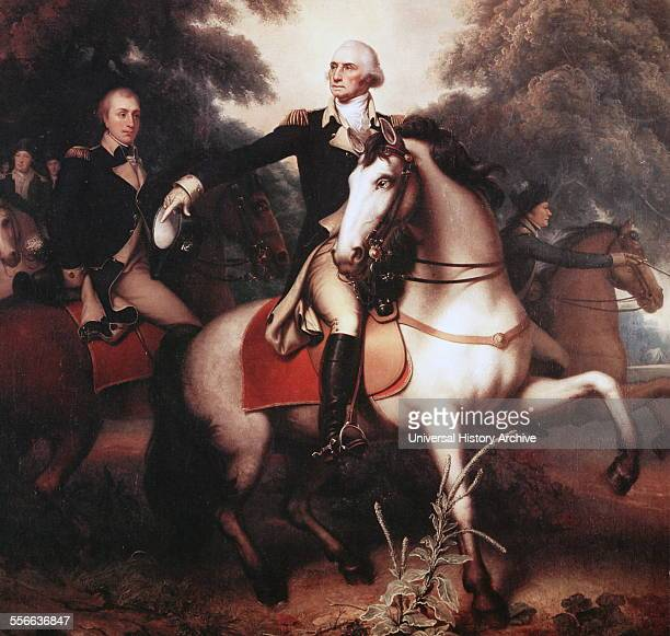 Washington before Yorktown by Rembrandt Peale The picture shows George Washington fulllength portrait in full dress uniform on horseback preparing...