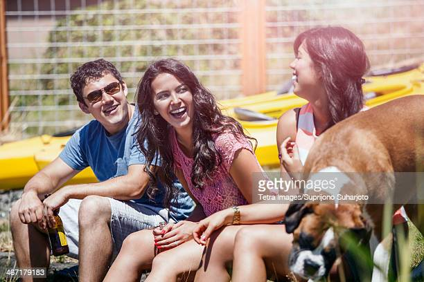 USA, Washington, Bellingham, Portrait of three young people laughing