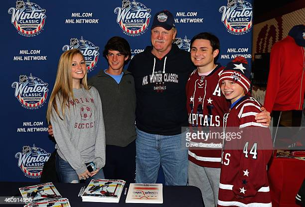 Washington Capitals alumni Rod Langway greets and signs autographs for fans during the 2015 Bridgestone NHL Winter Classic Build Out on December 30...
