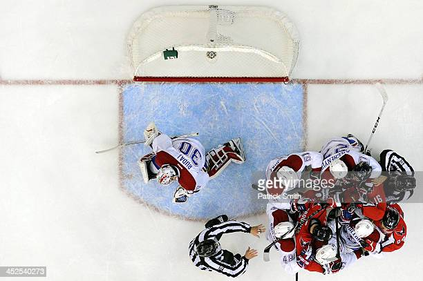 Washington Capitals and Montreal Canadiens players push one another during the third period during an NHL game at the Verizon Center on November 29...
