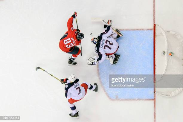 Washington Capitals center Jay Beagle scores in the second period against Columbus Blue Jackets goaltender Sergei Bobrovsky on February 9 at the...