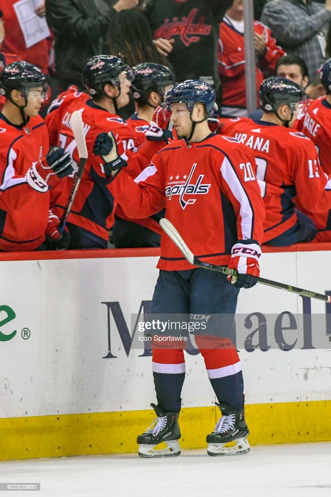 Washington Capitals center Lars Eller (20) is congratulated after scoring in the second period on February 20, 2018, at the Capital One Arena in Washington, D.C. The Tampa Bay Lightning defeated the Washington Capitals, 4-2.
