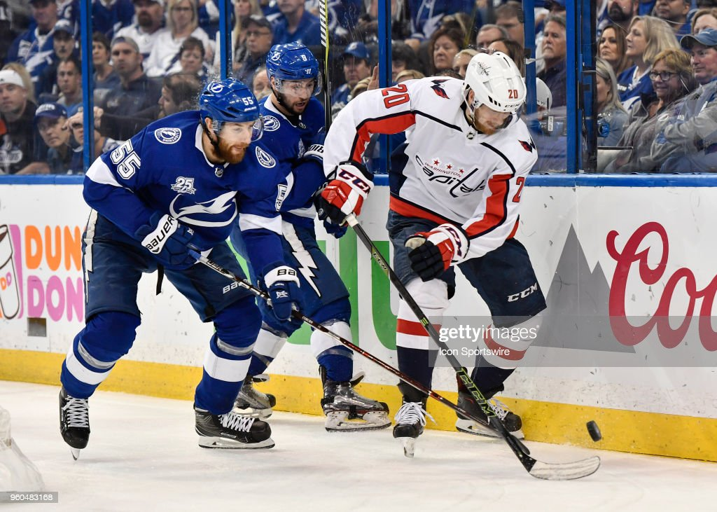 Washington Capitals center Lars Eller (20) protects the puck from Tampa Bay  Lightning defender d652ffe1799f