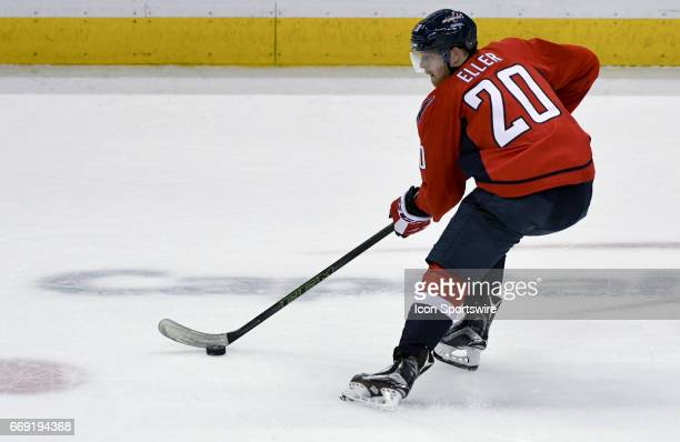 Washington Capitals center Lars Eller skates in the first period against the Toronto Maple Leafs on April 15 at the Verizon Center in Washington DC...
