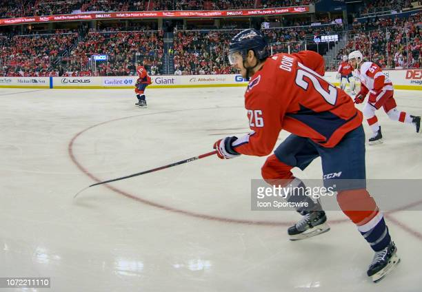 Washington Capitals center Nic Dowd skates in the first period in the game against the Detroit Red Wings on December 11 at the Capital One Arena in...