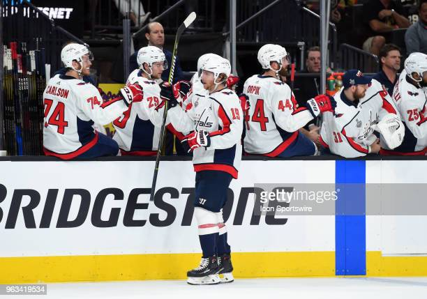 Washington Capitals Center Nicklas Backstrom celebrates after scoring their second goal of the game in the first period during game 1 of the Stanley...