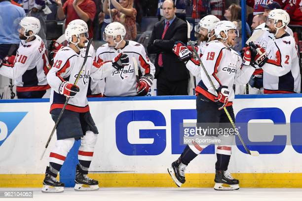 Washington Capitals center Nicklas Backstrom celebrates his goal with his bench during the third period of the seventh game of the NHL Stanley Cup...