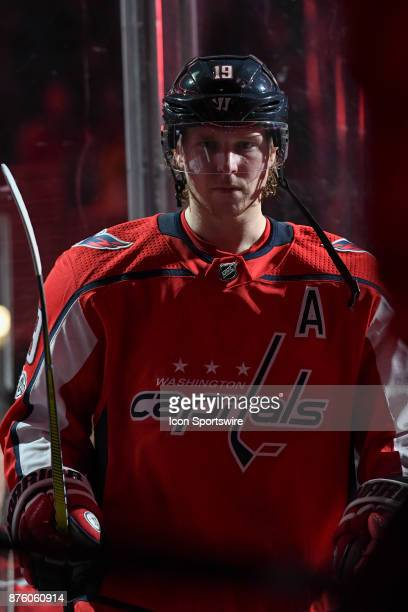 Washington Capitals center Nicklas Backstrom comes out of the second period against the Minnesota Wild on November 18 at the Capital One Arena in...