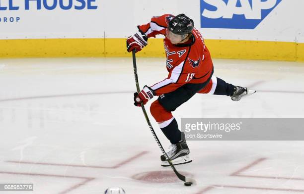April 15: Washington Capitals center Nicklas Backstrom fires a first period shot on goal against the Toronto Maple Leafs on April 15 at the Verizon...