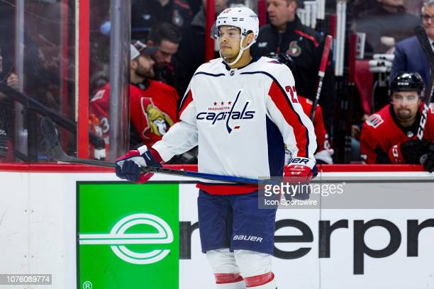 Washington Capitals Defenceman Madison Bowey waits for a faceoff during first period National Hockey League action between the Washington Capitals...