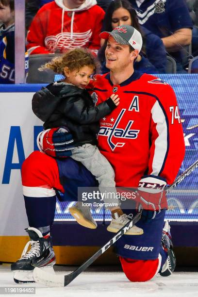 Washington Capitals defender John Carlson holds daughter during the 2020 NHL AllStar Skills Bud Light NHL Save Streak competition on January 24 at...