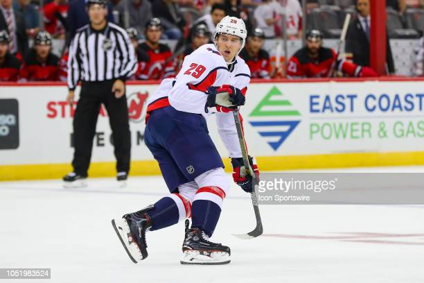 Washington Capitals defenseman Christian Djoos skates during the first  period of the National Hockey League Game. Washington Capitals v New Jersey  Devils fa3e68b7f