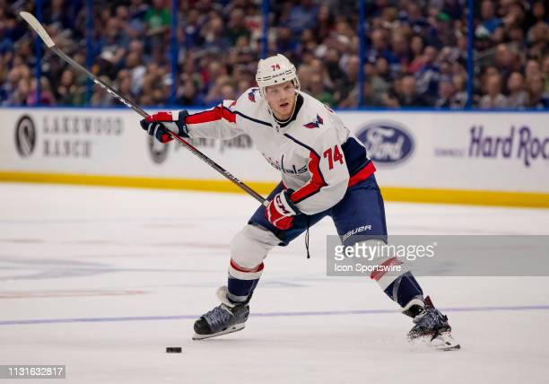 Washington Capitals defenseman John Carlson makes a shot on goal during the NHL Hockey match between the Lightning and Capitols on March 16 2019 at...