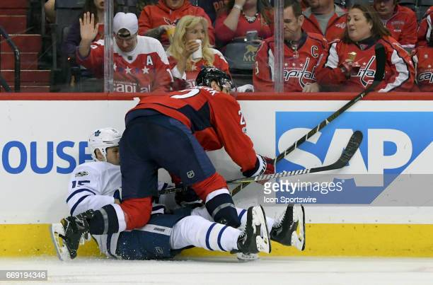 Washington Capitals defenseman Kevin Shattenkirk hits Toronto Maple Leafs left wing Matt Martin in the second period on April 15 at the Verizon...