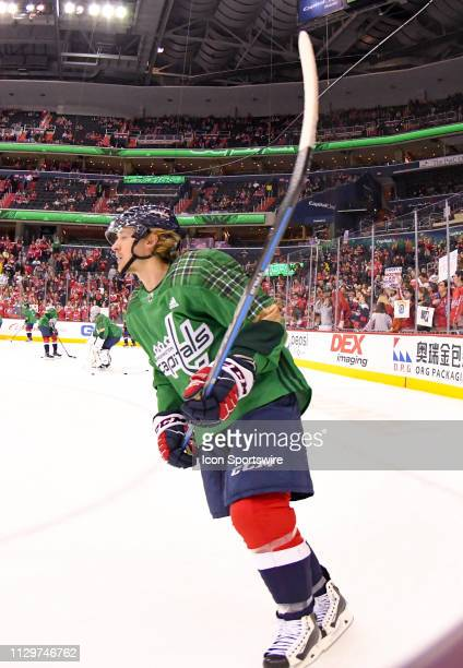 Washington Capitals defenseman Nick Jensen warms up prior to the game against the Winnipeg Jets on March 10 at the Capital One Arena in Washington DC