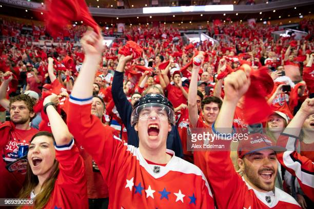 Washington Capitals fans cheer during the fan watch party at Capitol One Area on June 7 2018 in Washington DC The Washington Capitals head into Game...