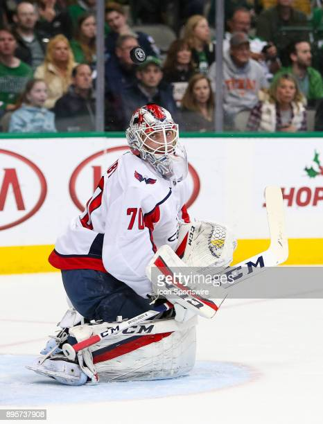Washington Capitals goalie Braden Holtby looks at a deflected puck during the hockey game between the Washington Capitals and Dallas Stars on...