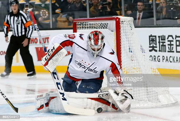Washington Capitals goalie Braden Holtby makes a save during a game between the Boston Bruins and the Washington Capitals on December 14 at TD Garden...