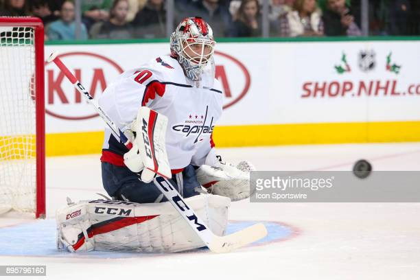 Washington Capitals goalie Braden Holtby watches a puck during the hockey game between the Washington Capitals and Dallas Stars on December 19 2017...
