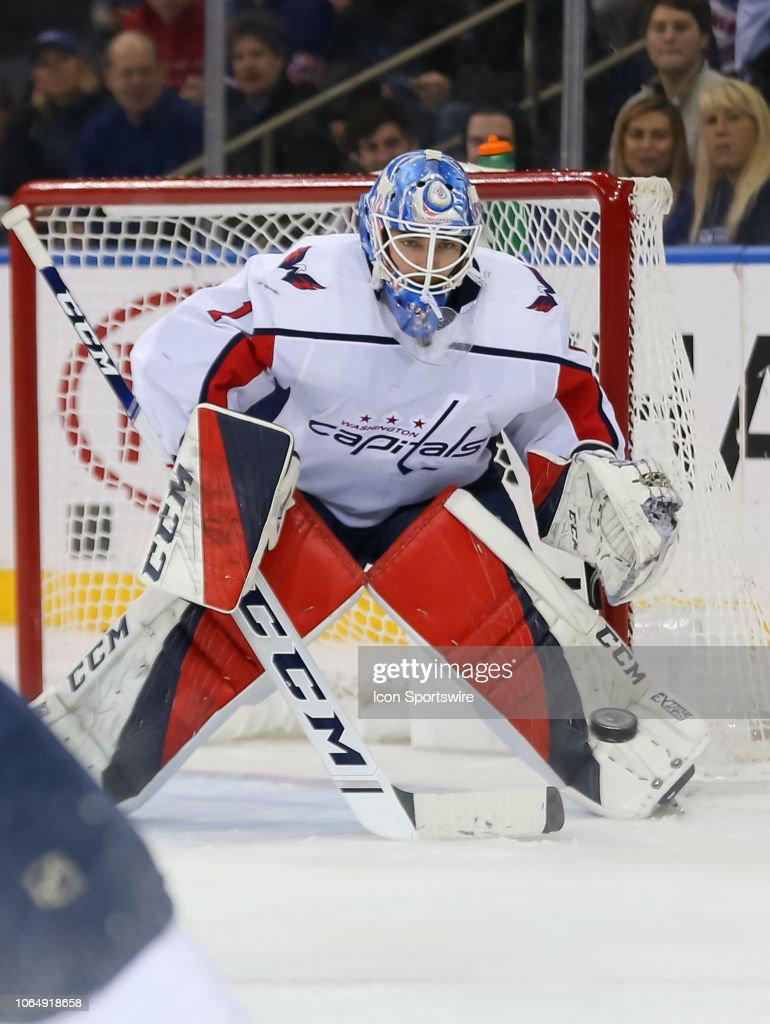 dc2aefb5c0a Washington Capitals Goalie Pheonix Copley prepares to make a save ...
