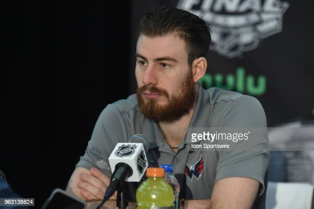Washington Capitals Goalie Philipp Grubauer addresses the media during the NHL Stanley Cup Final Media Day on May 27 2018 at TMobile Arena in Las...