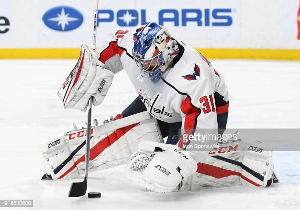 Washington Capitals Goalie Philipp Grubauer gathers the puck during a NHL game between the Minnesota Wild and Washington Capitals on February 15 2018...