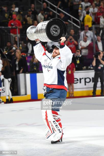 Washington Capitals Goalie Philipp Grubauer hoists the Stanley Cup after defeating the Las Vegas Golden Knights 43 to win the Stanley Cup during game...